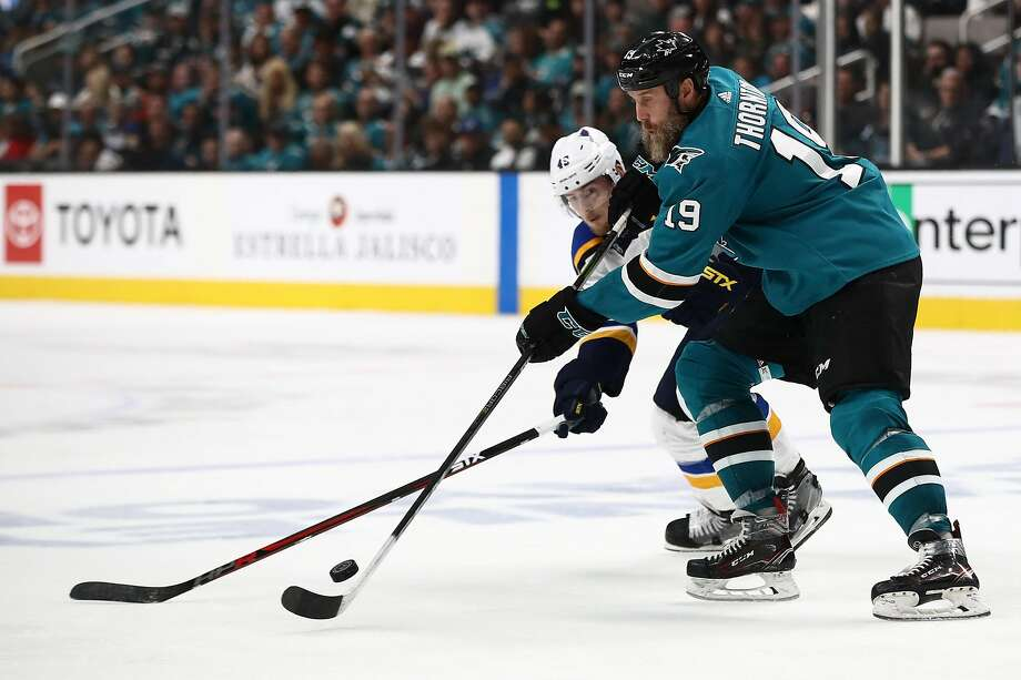 SAN JOSE, CALIFORNIA - MAY 19: Joe Thornton #19 of the San Jose Sharks controls the puck against the St. Louis Blues in Game Five of the Western Conference Final during the 2019 NHL Stanley Cup Playoffs at SAP Center on May 19, 2019 in San Jose, California. (Photo by Ezra Shaw/Getty Images) Photo: Ezra Shaw / Getty Images