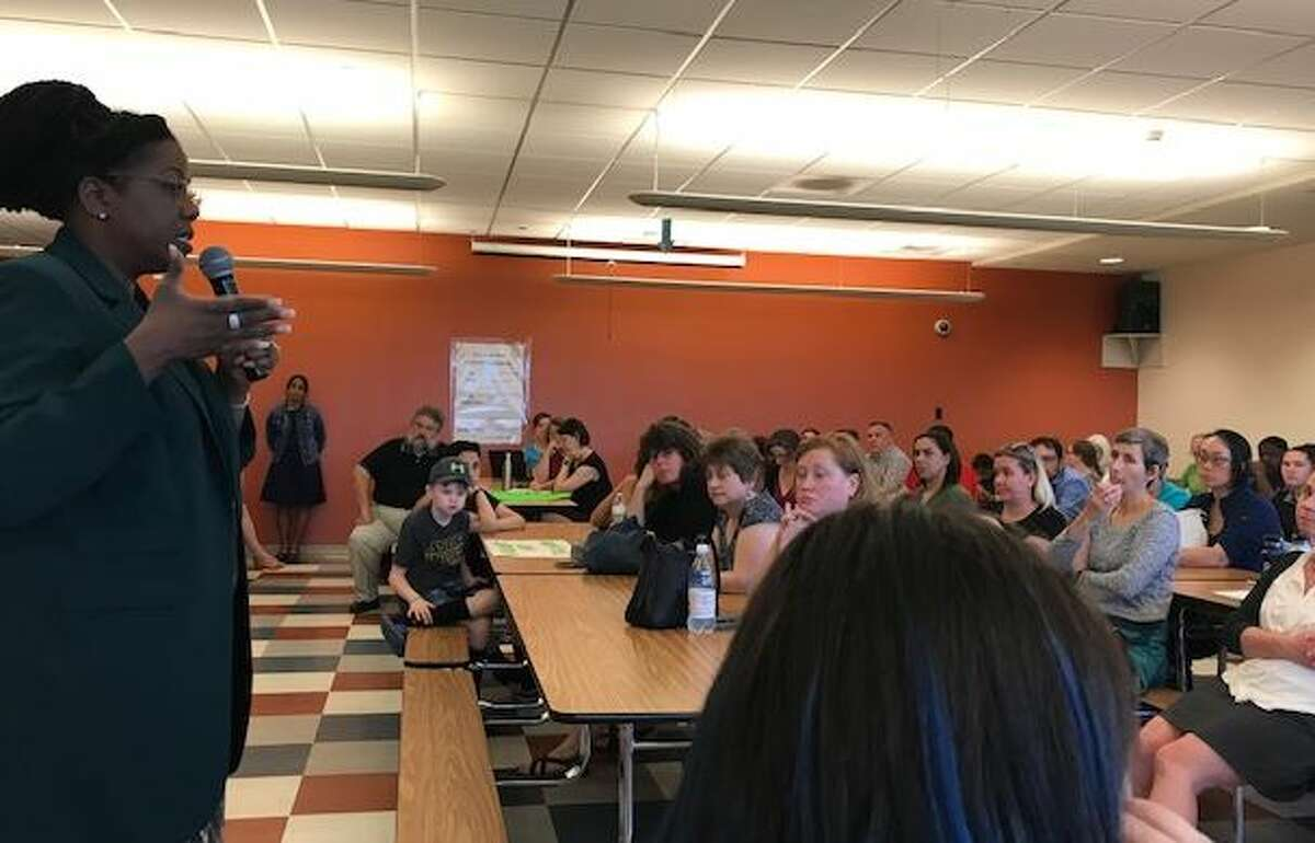 Albany school Superintendent meets with parents and teachers who are protesting involuntary reassignment from Myers middle school. Meeting was on June 17, 2019 in Albany N.Y.