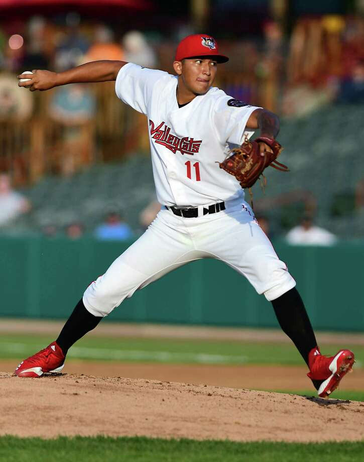 Tri-City ValleyCats pitcher Lupe Chavez throws the ball during a baseball game against the Staten Island Yankees at Joe Bruno Stadium on Monday, June 17, 2019 in Troy, N.Y. (Lori Van Buren/Times Union) Photo: Lori Van Buren, Albany Times Union / 40047107A