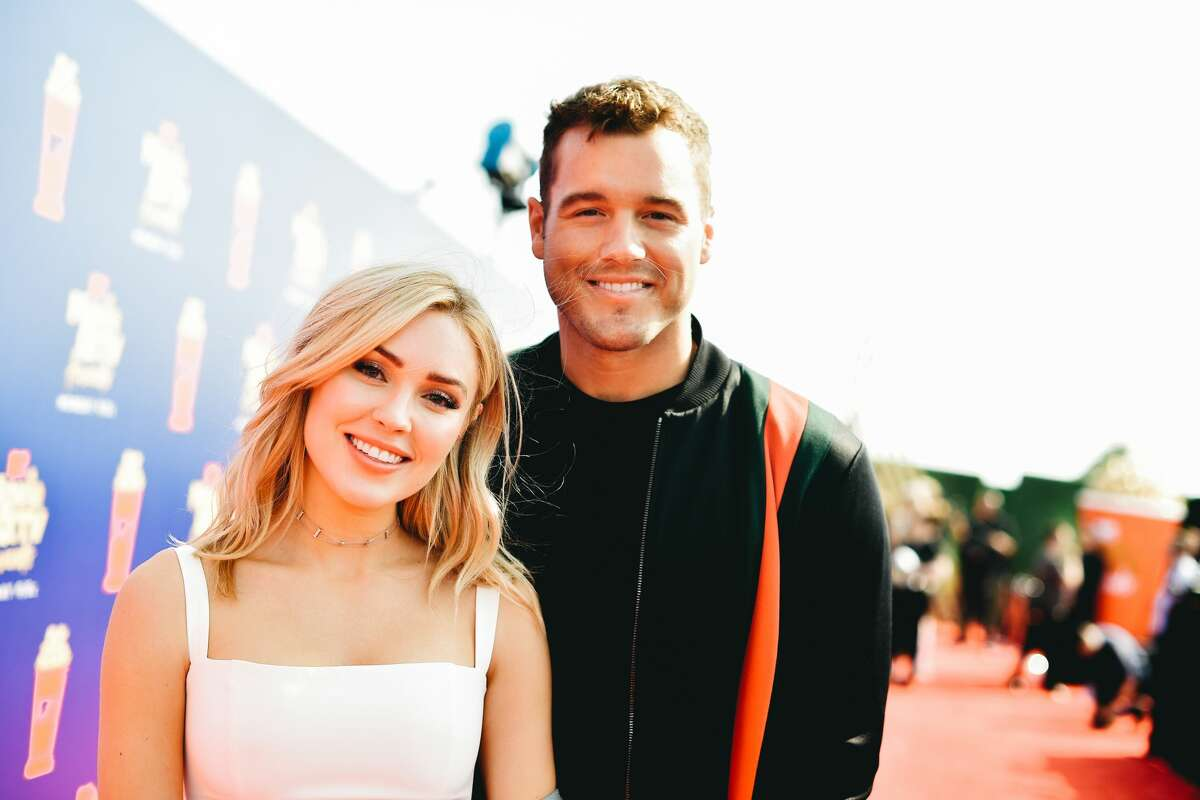 SANTA MONICA, CALIFORNIA - JUNE 17: (EDITORS NOTE: Image has been processed using digital filters) Cassie Randolph (L) and Colton Underwood attend the 2019 MTV Movie and TV Awards at Barker Hangar.