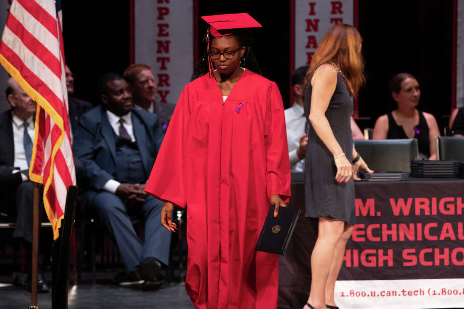 Ninety one students from Stamford's J.M. Wright Technical High School graduated on June 17, 2019 at a commencement ceremony at the Palace Theatre in Stamford. The speaker was Tony Hardy, valedictorian of the class of 1984. Photo: Ken (Direct Kenx) Honore / Hearst CT Media