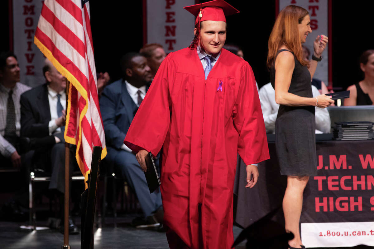 Ninety one students from Stamford's J.M. Wright Technical High School graduated on June 17, 2019 at a commencement ceremony at the Palace Theatre in Stamford. The speaker was Tony Hardy, valedictorian of the class of 1984.