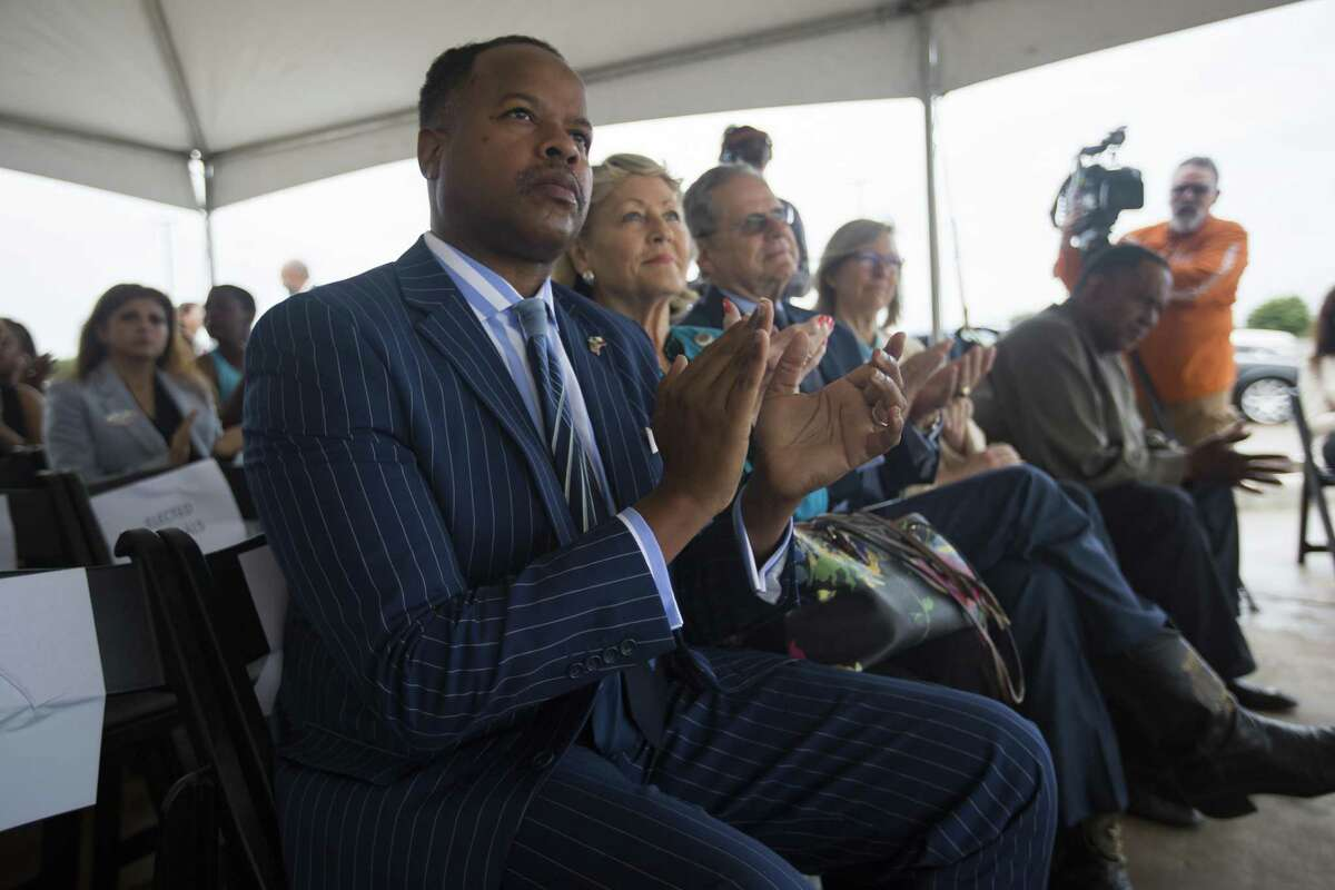 State Rep. Ron Reynolds, D-Missouri City, listens to U.S. Rep. Al Green, D-Houston, speak at a news conference celebrating progress on the Sugar Land 95 Memorial Project in Sugar Land, Monday, June 17, 2019.