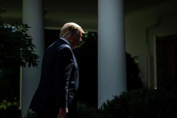 President Donald Trump departs after delivering remarks on health coverage in the Rose Garden at the White House on June 14, 2019.