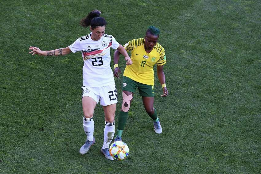 Germany's defender Sara Doorsoun (L) vies for the ball with South Africa's forward Thembi Kgatlana during the France 2019 Women's World Cup Group B football match between South Africa and Germany, on June 17, 2019, at the Mosson Stadium in Montpellier, southern France. (Photo by Boris HORVAT / AFP)BORIS HORVAT/AFP/Getty Images