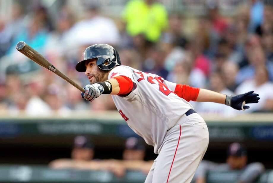 Boson Red Sox's J.D. Martinez watches his RBI-single against the Minnesota Twins in the first inning of a baseball game Monday, June 17, 2019, in Minneapolis. (AP Photo/Andy Clayton- King) Photo: Andy Clayton-King / FR51399 AP