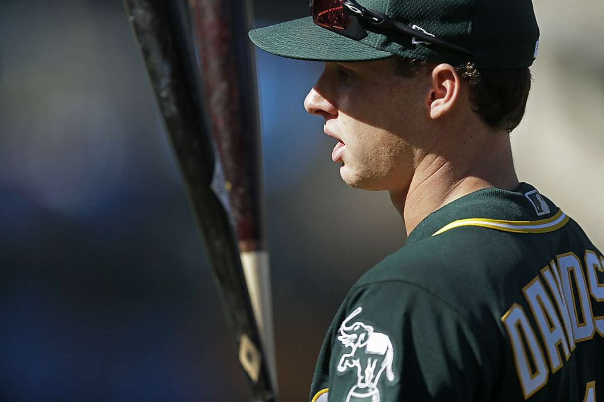 Oakland Athletics new draft pick Logan Davidson waits his turn during batting practice prior to a baseball game against the Baltimore Orioles, Monday, June 17, 2019, in Oakland, Calif. (AP Photo/Janie McCauley)