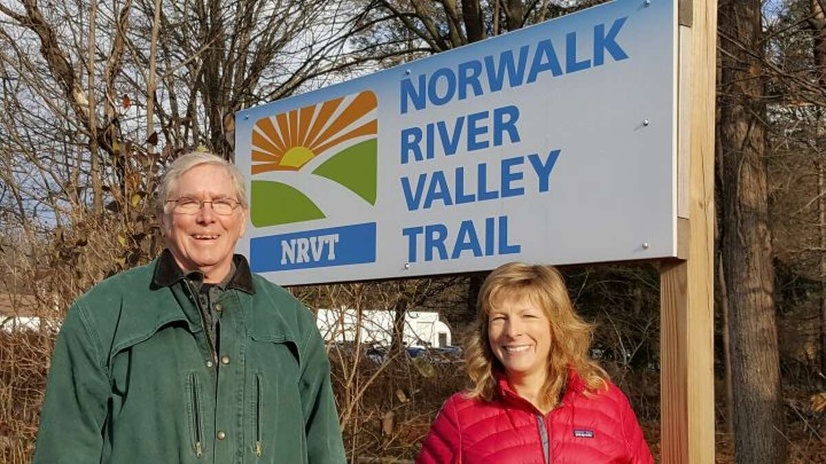 Charlie Taney, executive director of the Norwalk River Valley Trail, with Pat Sesto of Ridgefield, president of the Friends of the NRVT.