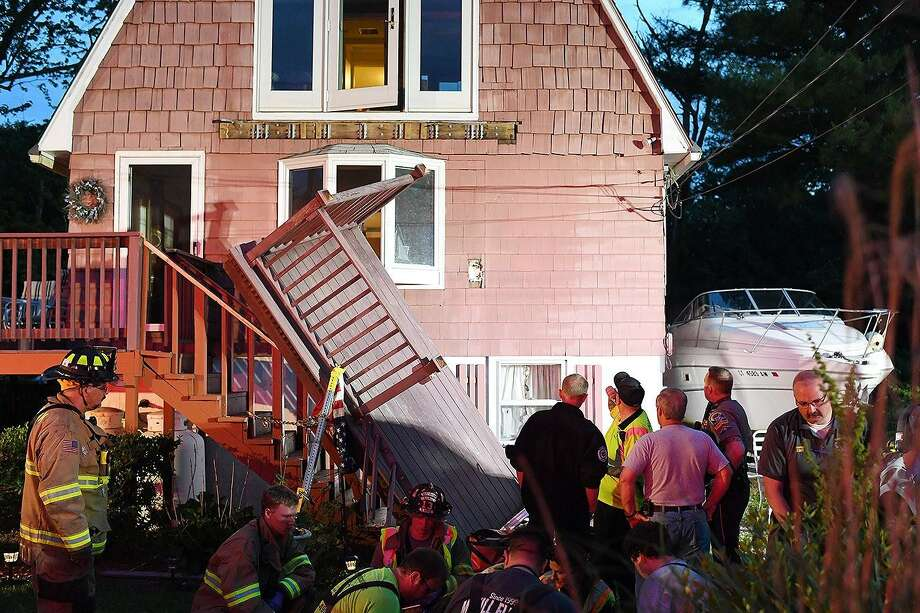 Three people were taken to the hospital after a deck collapsed on Little Meadow Road in Haddam on Monday, June 17, 2019, firefighters said. Five people were on a deck attached to a three-story, gable-roof home at 77 Little Meadow Road at around 8:10 p.m. when the deck gave way, members of the Haddam Volunteer Fire Company. Photo: Haddam Volunteer Fire Company Photo