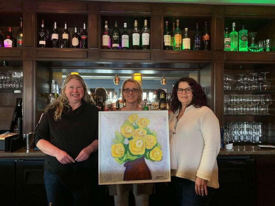 Pictured from right to left: Artist Rhonda Gentry, Amanda Cordano and Birgitta Stone. Cordano and Stone are Ridgefield League of Women Voters members.