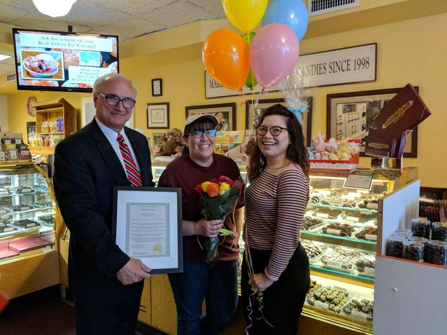 From left to right: First Selectman Rudy Marconi, and Deborah Ann Backes, the 2019 Woman of the Year, and Chamber Executive Director Kim Bova.