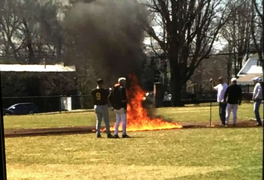 A photo from the baseball field fire that happened Saturday morning at Governor Park in Ridgefield. Police have no arrested any suspects. — Alex Fischetti / Contributed photo