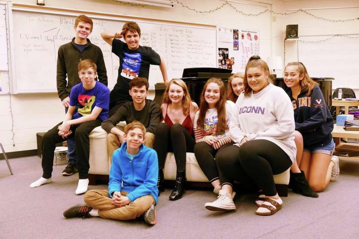 """The cast of """"The High School Experience: A Tragicomedy in One Act."""" From the top to bottom left to right: Liam Huff, Tyler Munson, Harrison Cluney, Nick Yulo, Caroline Malley, Lucy Kubrin, Ana Kowalczyk, Callie Amill, Eleanor Andresen, and Haydn Wilfinger. Not pictured: Hannah Jay."""