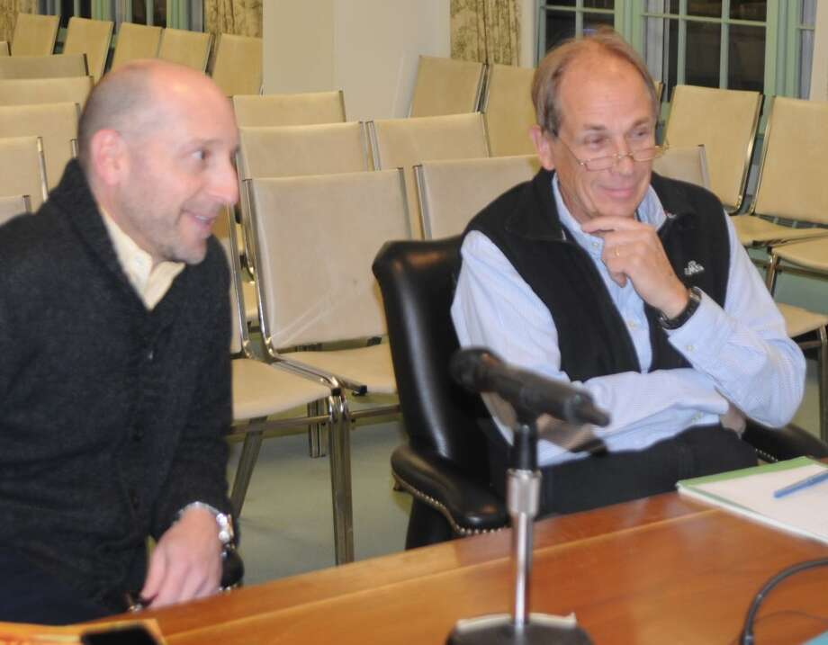David Shofi, left, and Phil Kearns interviewed with the selectmen and were reappointed to seats on the Parks and Recreation Commission.