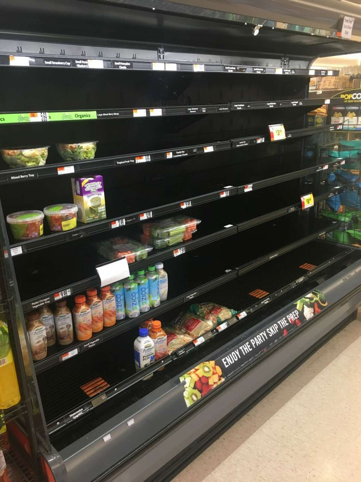 The shelves were mostly empty at Stop and Shop on Danbury Road in Ridgefield Thursday, April 18.