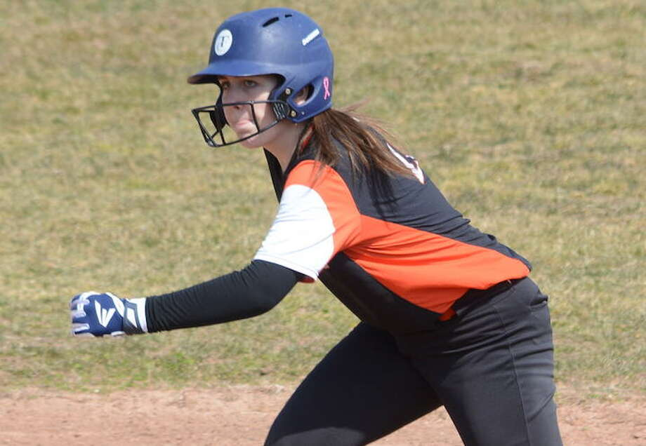 Makenna Skrobar and the Ridgefield High softball team out-slugged Greenwich in a 15-8 road win. — Andy Hutchison photo