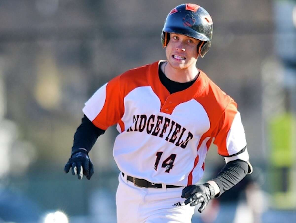 Joey Pastore had the game-winning hit in Ridgefield's 3-2 victory over Greenwich. - Matthew Brown / Hearst Connecticut Media
