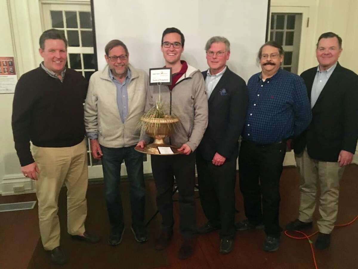 The Burr Bradleys was the winning team of The Battle of Ridgefield VI history trivia contest at KTM& on Friday, April 5. Team members, from left to right, Marty Heiser, George Hancock, Steve Coulter, Craig Borders, Joel Weisvogel, and John Frey.