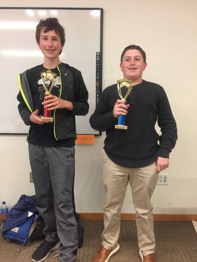 Jeffrey Pogue of Westport and Matthew Sherter of Ridgefield were two winners at the 2019 New England School Scrabble Championship which took place at the Ridgefield Library on April 6.