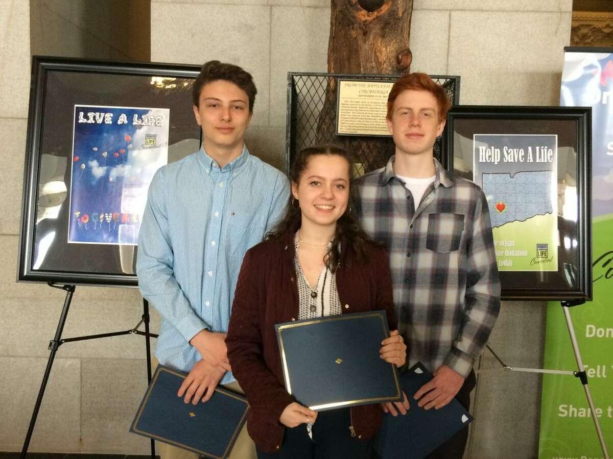 Ridgefield High School juniors Timothy Porter, Dylan Zappala and Melanie Kardos.