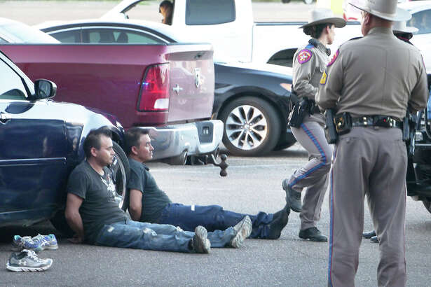 Law enforcement officers detained a number of men after responding to an incident at Mall del Norte Friday, June 14, 2019.