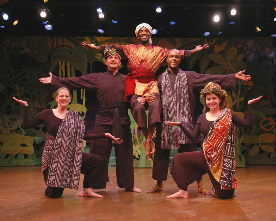 Left to right: Robin Harris, Matt Beyer, Darius Epps, Thomas Nowlin, and Audra Honaker in Theatre IV's 2004 production of Rudyard Kipling's The Jungle Book directed by Susan Sanford. The Ridgefield Playhouse and Ridgefield Library are partnering to bring children's favorite storybook characters from the page to the stage. Parents are encouraged to read The Jungle Book and Stuart Little with their children, then attend storytime at the The Ridgefield Library before seeing the shows come to life on stage at The Ridgefield Playhouse. The library story hour for The Jungle Book is Saturday, March 30, at 10:30 a.m.— Eric Dobbs photo
