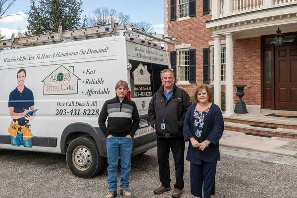 Members of the Total Care of Connecticut property management firm that provide their clients peace of mind are, from left to right, Phil Whipple, carpenter; Fred Whipple, field engineer and general manager; and Mary Ann Spano, office manager. Not pictured is Reed Whipple, founder of the company and its president.