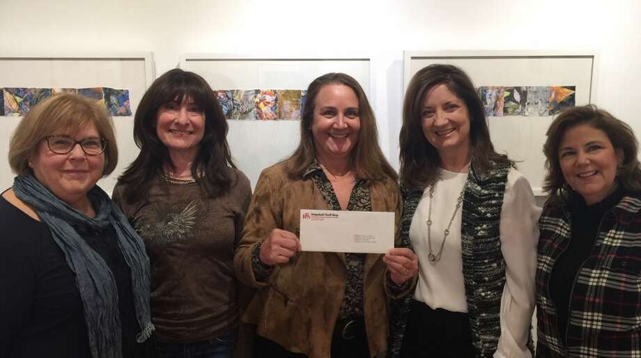 Left to right: Mindy Constanza, Mary Pat Devine, Pam Stoddart, Diana Arfine and Lori Bova. Diana Arfine, Lori Bova and Mindy Constanza from the Ridgefield Thrift Shop stopped by the Guild of Artists recently to present their grant check of $5,500.