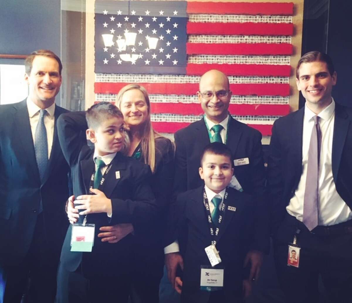 Ridgefield students Jordan Ari Sarup joined the National Fragile X Foundation on Capitol Hill on Feb. 26 to advocate for those impacted by Fragile X Syndrome. Jordan was born with a genetic condition called Fragile X Syndrome (FXS), which classifies him as intellectually disabled. The brothers met with Congressman Jim Himes, far left, and his staff members while in Washington.