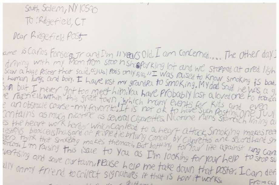 Fifth grader Carlos Fonseca Jr. penned this hand-written letter to The Ridgefield Press after seeing an advertisement for Juul pods in town.