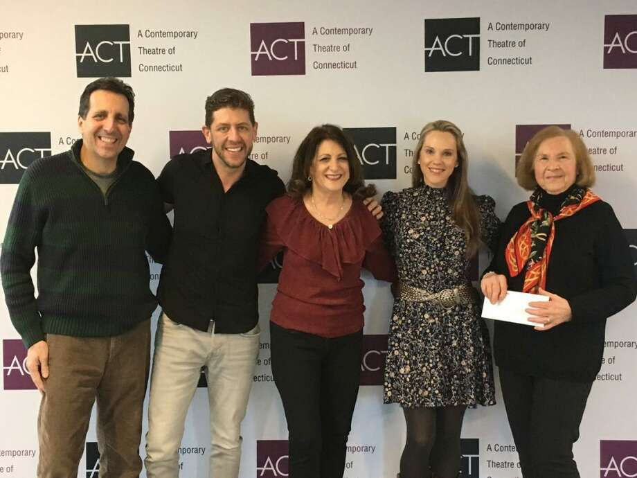 Ridgefield Thrift Shop's donation to ACT of Connecticut will be used to enhance the theater's dressing rooms. The nonprofit plans to name the dressing rooms in honor of the Thrift Shop volunteers. Pictured, from left to right: Allan Welby, Daniel Levine, Sandra Capriotti, Katie Diamond, and Joanne DiSpirito