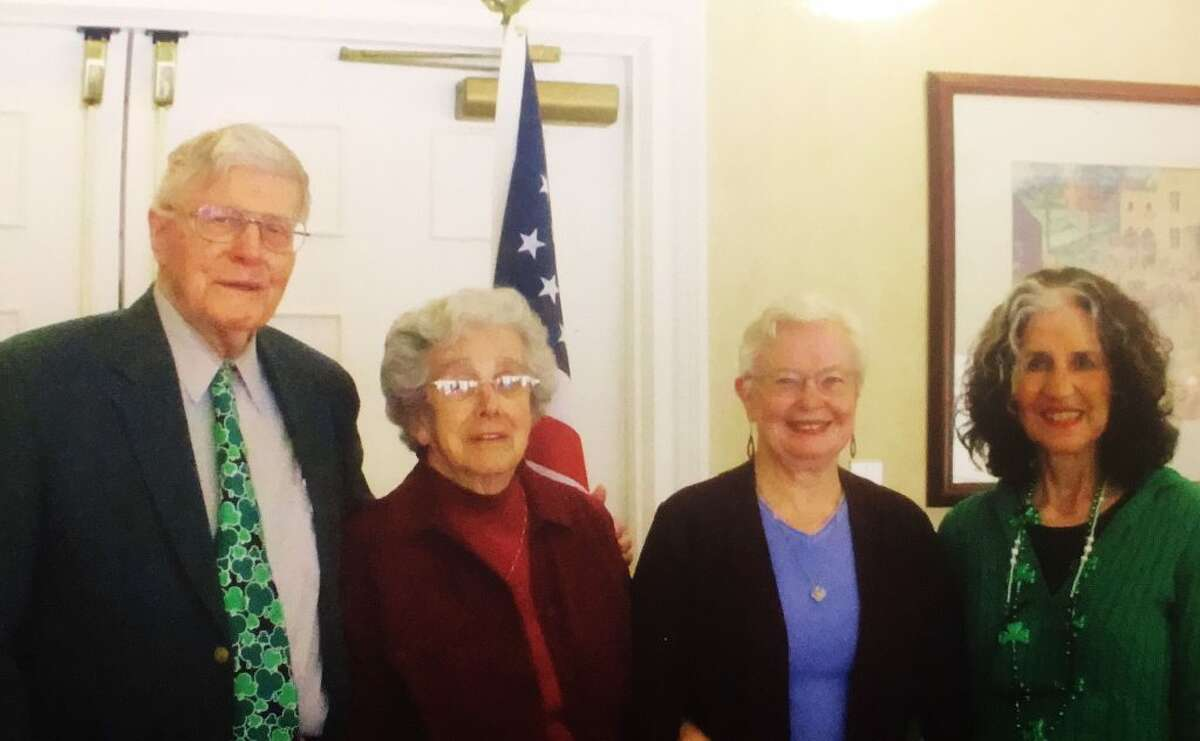 Dr. John Fisher, Bunny Lancaster, Owls secretary, Dee Strilowich of Personal Touch Welcome, and Beulah Fisher, the Owls hostess. Strilowich was the guest speaker at the Owls monthly meeting this March.