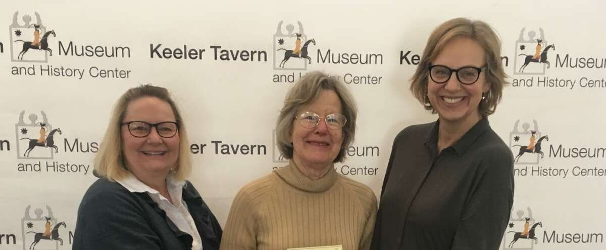 The Keeler Tavern Museum and History Center received a grant check from the Thrift Shop last week. Pictured, from left to right: Hilary Micalizzi, KTM&HC president; Marilyn Maneri, thrift shop and history center volunteer; Hildi Grob, KTM&HC executive director.