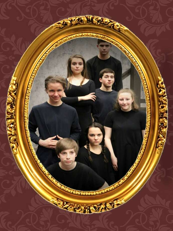 The RHS Addams Family, clockwise from top: Matt Carpenter as Lurch, Evan Smolin as Gomez Addams, Lucy Basile as Grandma, Kyra Linekin as Wednesday Addams, Harrison Cluney as Pugsley Addams, Thomas Mitchell as Uncle Fester, and Emily Parker as Morticia Addams. The Addams Family opens at Ridgefield High School on Friday. Tickets available at the door and online at rhsperformingarts.info.