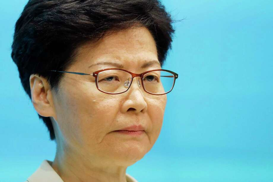 Carrie Lam, Hong Kong's chief executive, attends a news conference in Hong Kong on June 18, 2019. Photo: Bloomberg Photo By Justin Chin. / © 2019 Bloomberg Finance LP