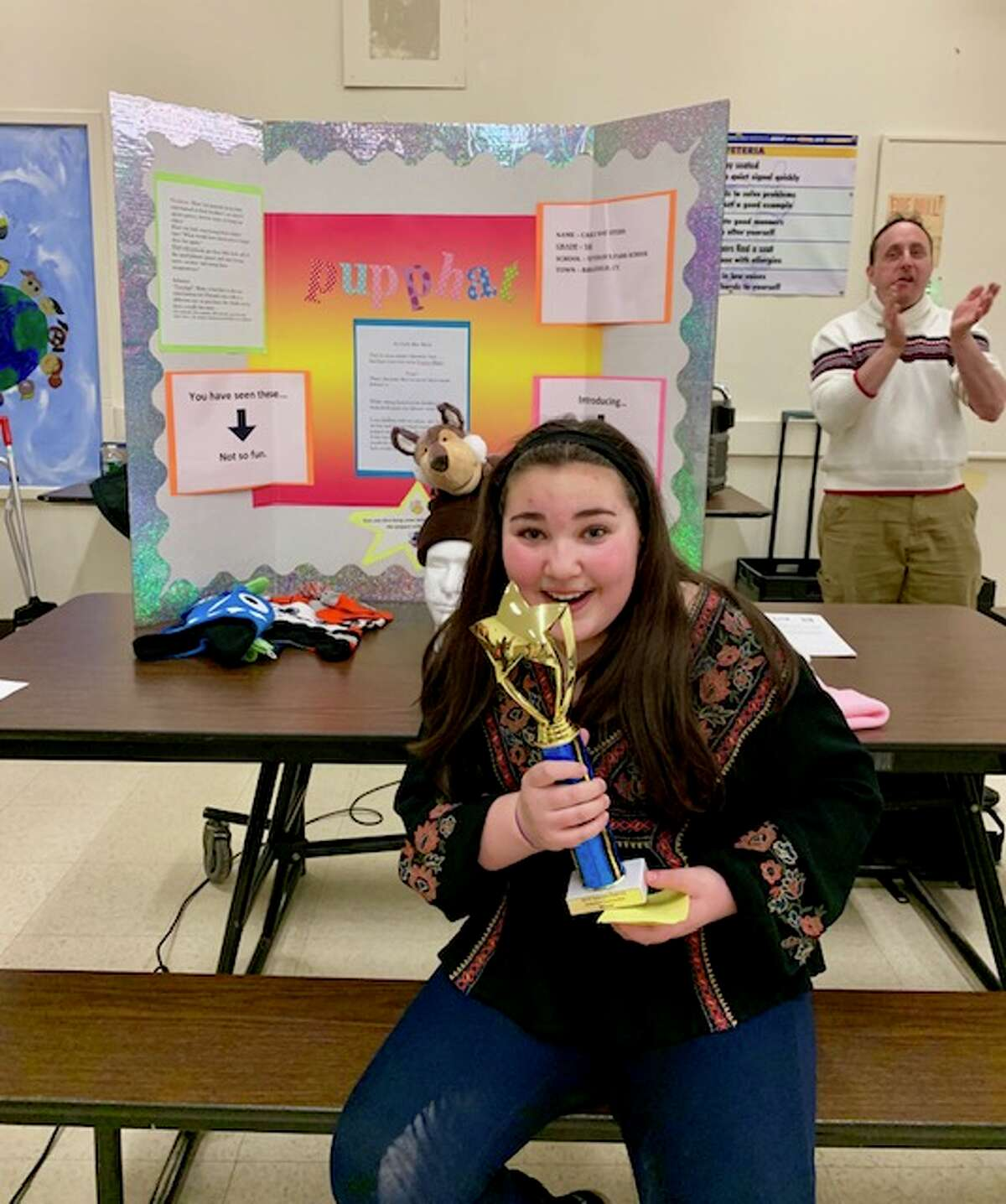 """Veterans Park fifth grader Carly Stern invented the """"Pupp-hat"""" and will present it at the state invention convention in May."""
