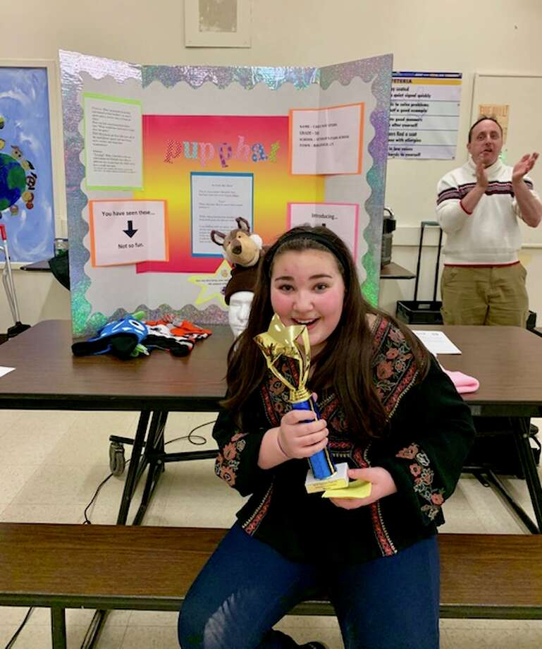 "Veterans Park fifth grader Carly Stern invented the ""Pupp-hat"" and will present it at the state invention convention in May."