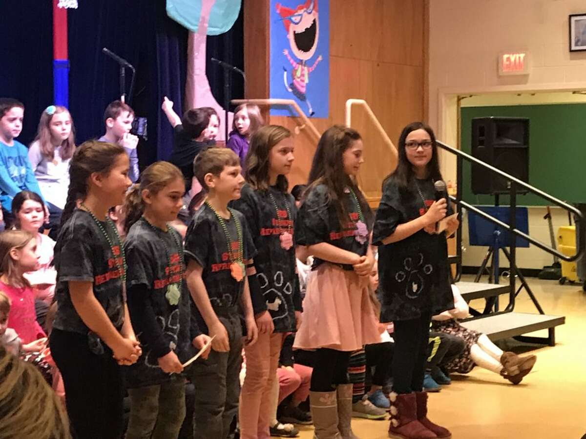 Scotland Elementary School students perform during an assembly on Feb. 27.