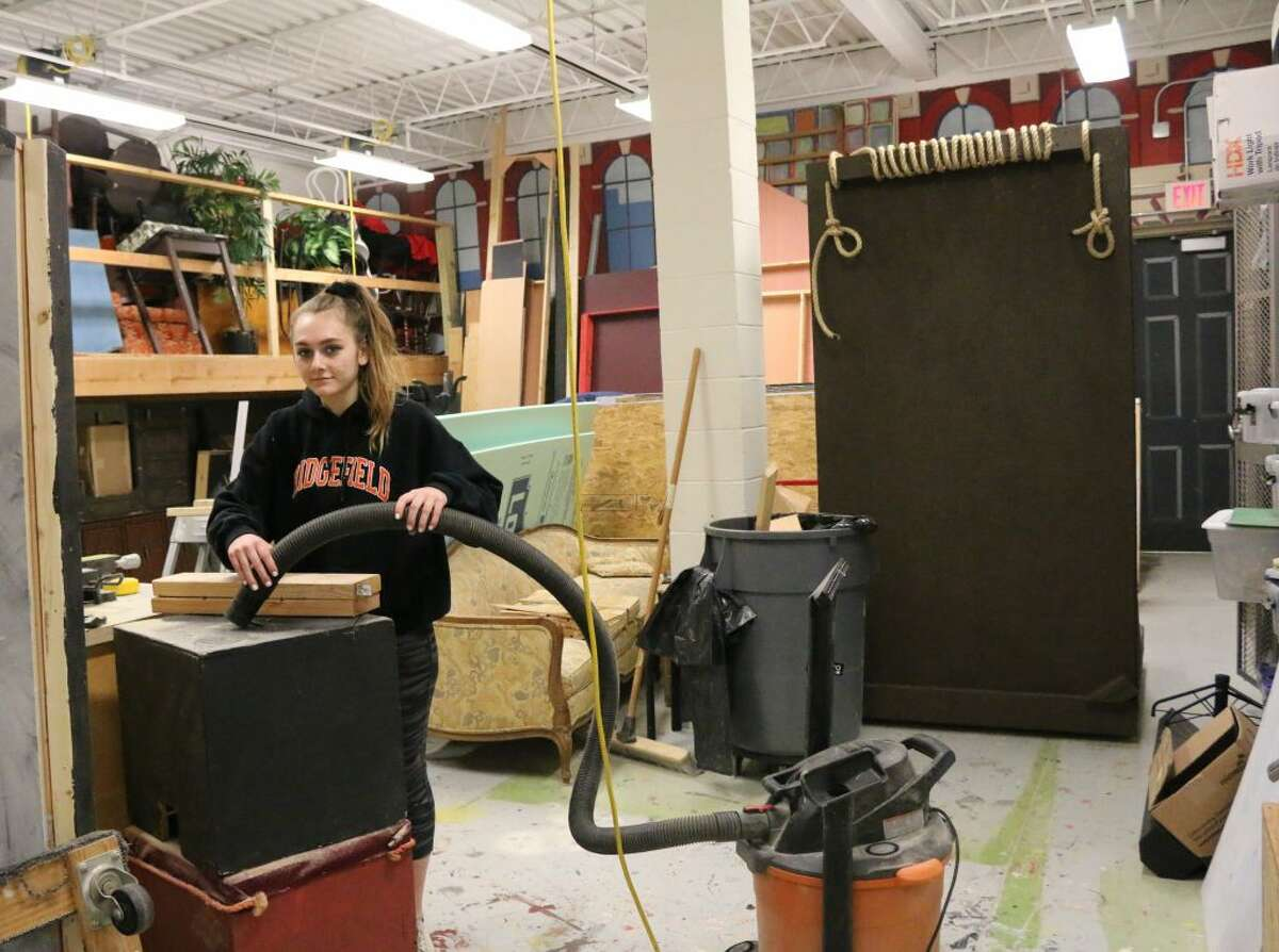 Stage Manager Shane Jaeger at work in the stage craft room in preparation for The Addams Family at Ridgefield High School March 15-17 and March 22-23. - Tanya Jaeger photo