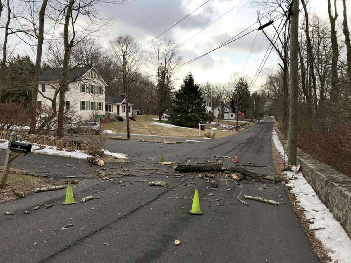 Heavy winds have created a single power outage on South Olmstead Lane, caused by this chunk of a tree that took down the house's power line.South Olmstead Lane is closed at the intersection of Seymour Lane. - Jack Sanders photos