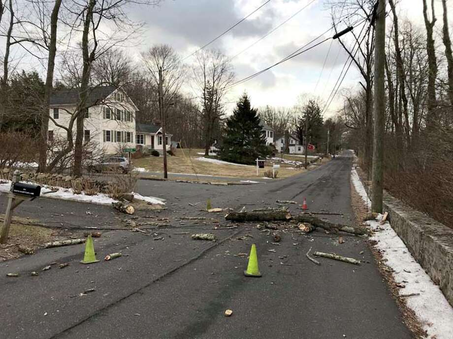 Heavy winds have created a single power outage on South Olmstead Lane, caused by this chunk of a tree that took down the house's power line. South Olmstead Lane is closed at the intersection of Seymour Lane. — Jack Sanders photos