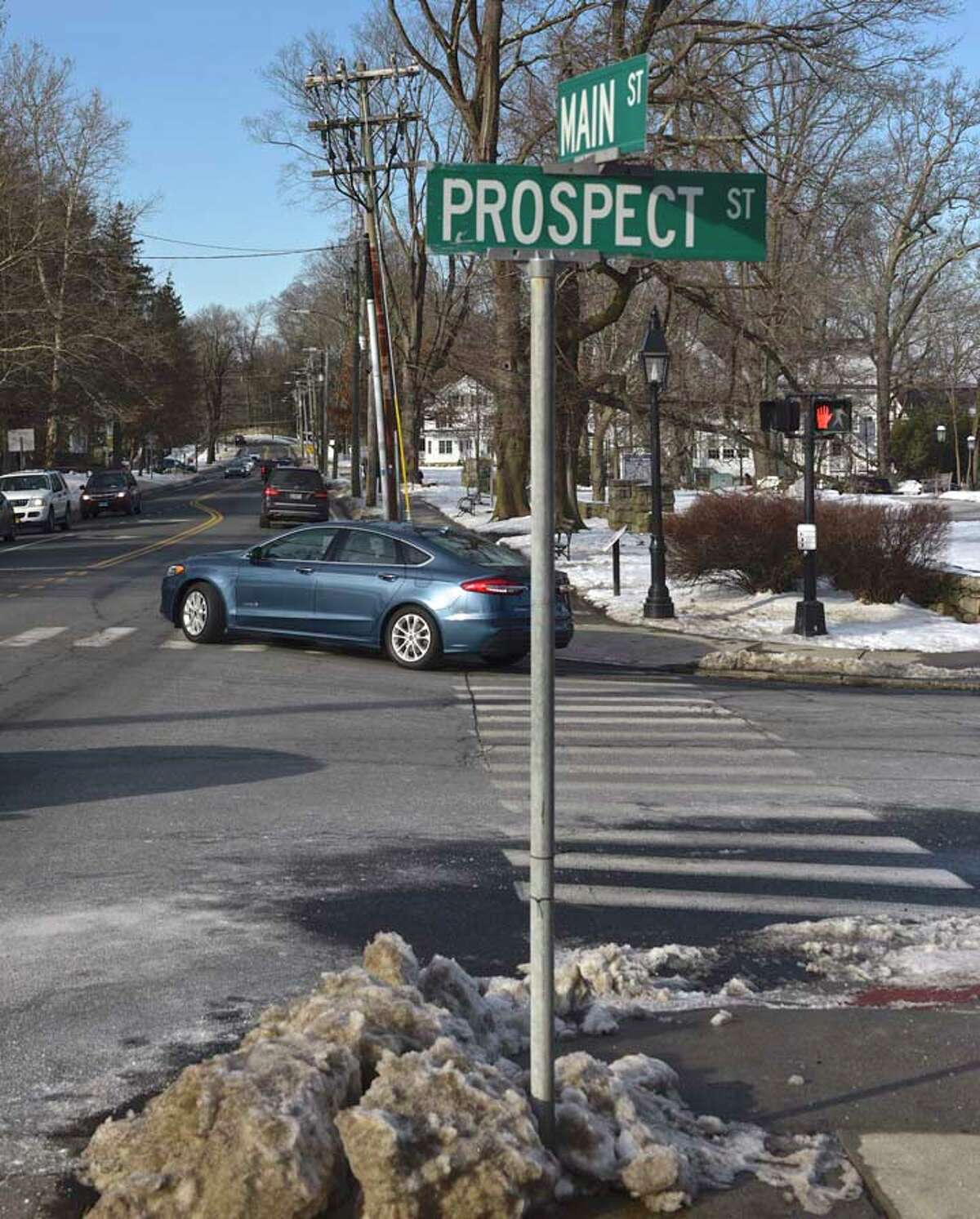 Cars turning right onto Main Street from Prospect Street will have to wait for a green light. - H John Voorhees III / Hearst Connecticut Media