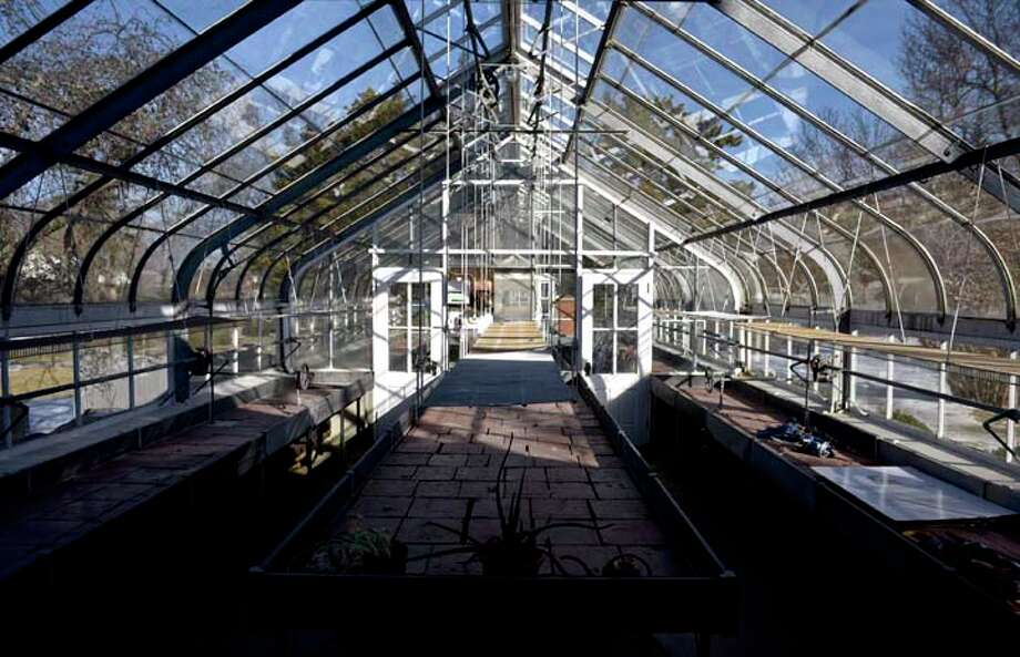 The Ballard Park greenhouse, a Lord & Burnham greenhouse, built by Mrs. Ballard's father, Lucius Bigelow in 1906. Tuesday, Feb. 19, 2019, in Ridgefield, Conn. Ballard left the land for the park to the town of Ridgefield. / The News-Times