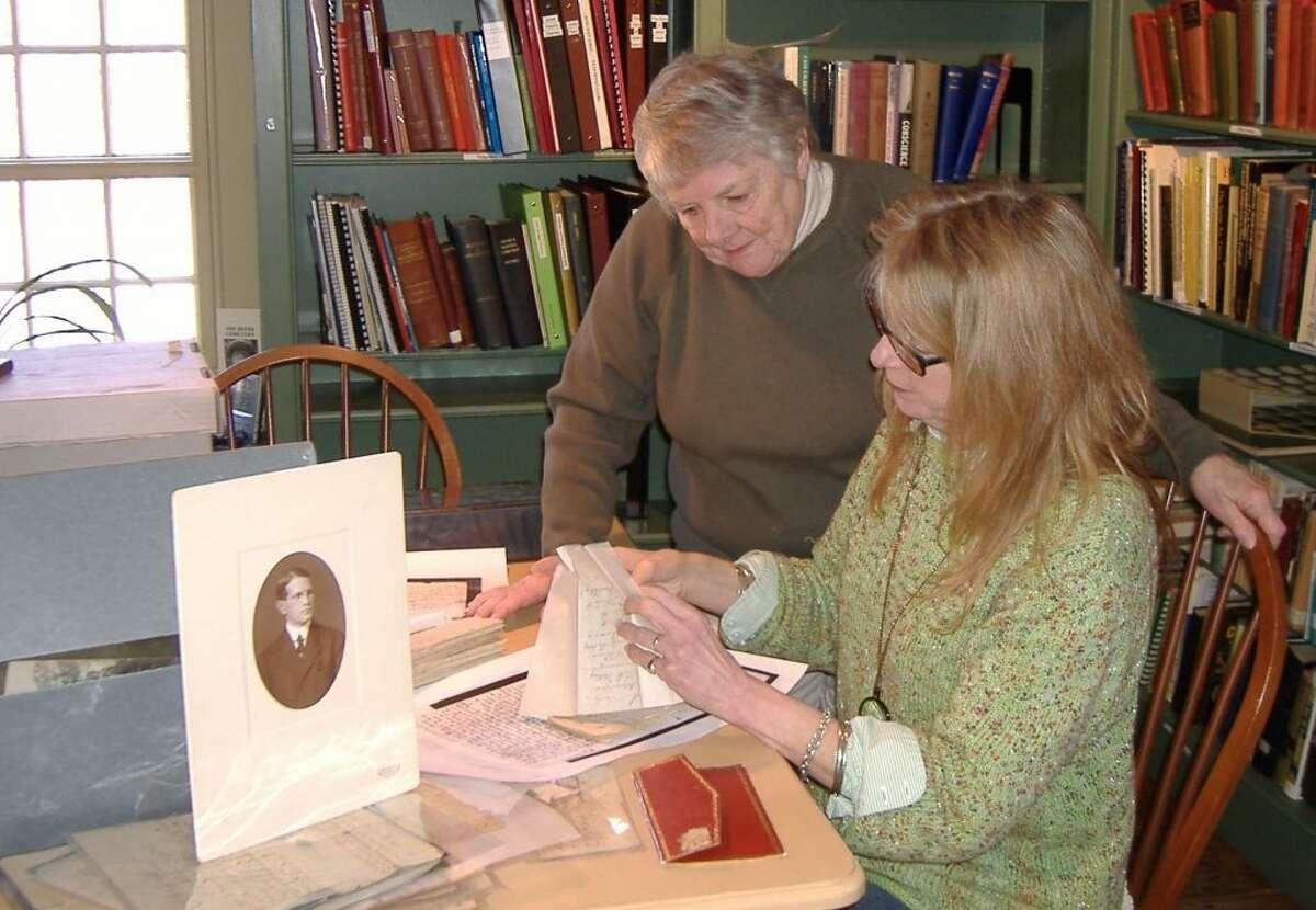 Ridgefield Historical Society volunteers Kay and Caroline Van Deusen.