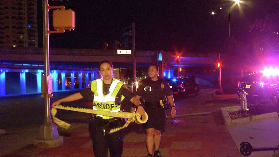 Four people were shot in a drive-by attack late Monday in downtown San Antonio, police said. Photo: Ken Branca