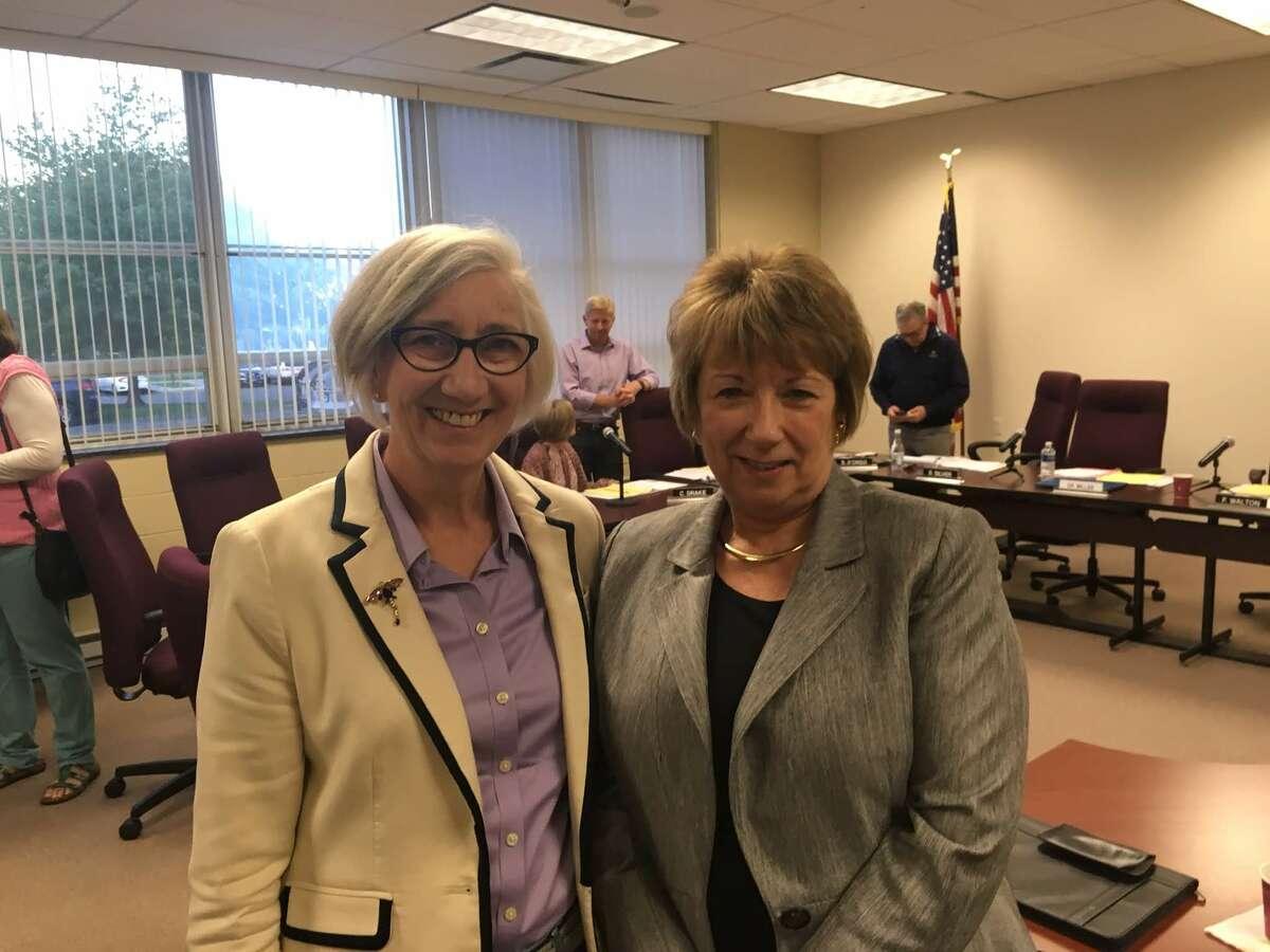 Interim Superintendent Dr. JeanAnn Paddyfote, right, with Board of Education member Fran Walton, left.
