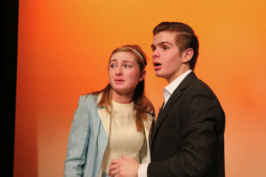 "RHS students Sophia Smith and Liam Huff perform in the absurdist play ""The Loveliest Afternoon of the Year,"" one five comedies in An Evening of Student-Directed One-Act Plays at Ridgefield High School. There are 7:30 p.m. shows at the high school on Thursday, Friday and Saturday night. — Tanya Jaeger photo"