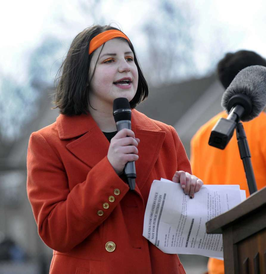 Lane Murdock speaks during the National School Walkout at Ridgefield High School last April. Next week she will attend the State of the Union in Washington. — Carol Kaliff / Hearst Connecticut Media