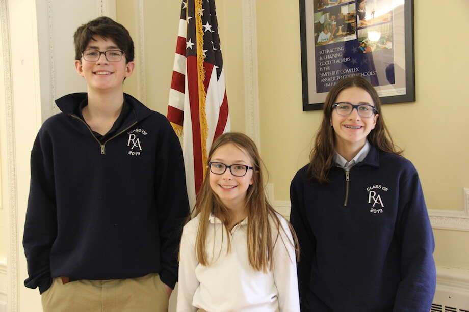 From left to right: Ridgefield Academy students Henry Kolani, Marilyn Sommerville, and Annie Suter participated in The WordMasters Challenge. Sommerville and Suter each earned a perfect score of 20 on the challenge.