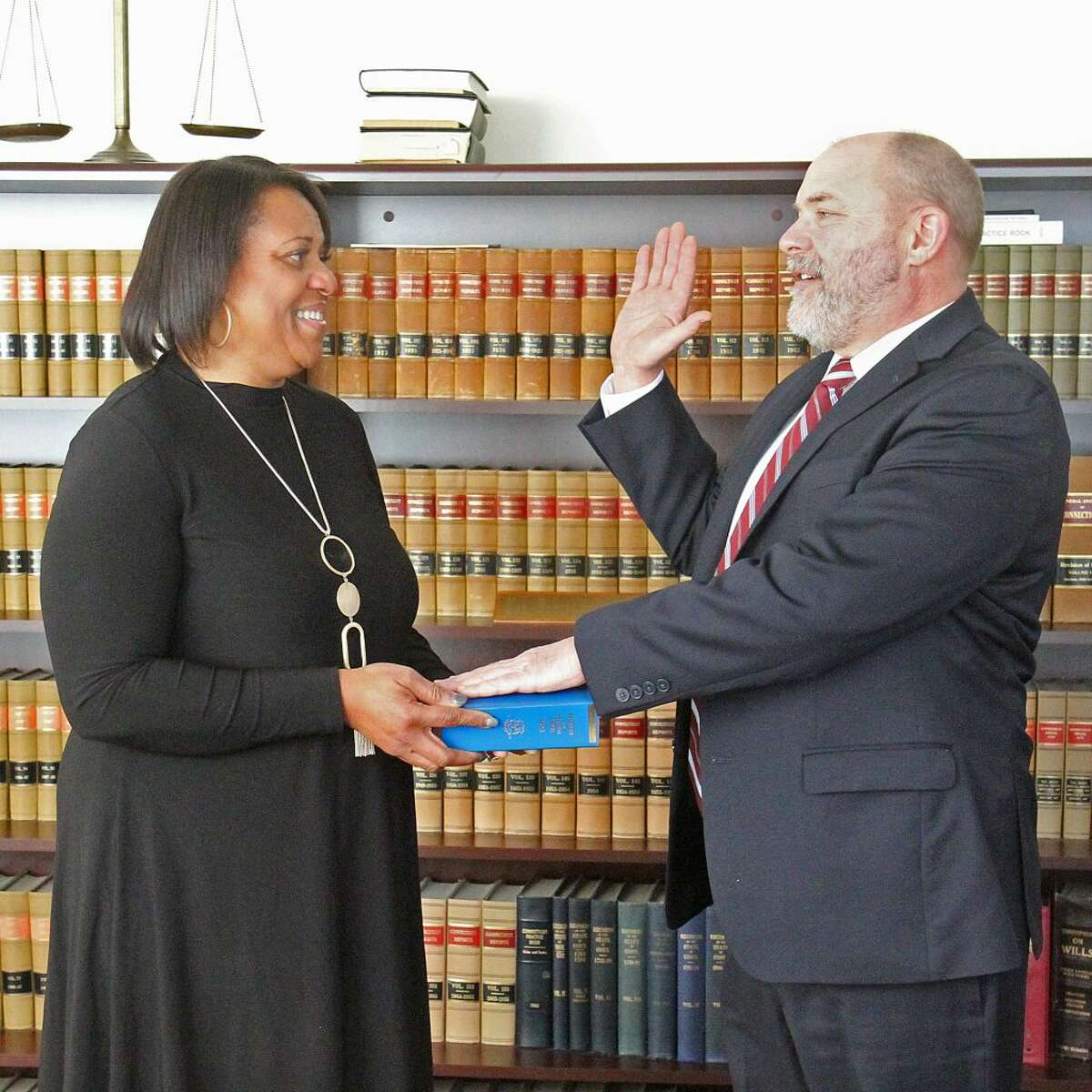 Northern Fairfield County Probate Judge Daniel O'Grady was re-elected for another four year term on Nov. 6, 2018. He receives the oath of office by Chief Clerk Jacqueline Buckle.